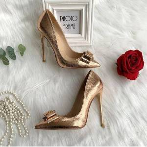 DHgate 2020 lady women bridal wedding bowtie spikes gold matt leather heels shoes pump poined toes slingback stiletto heel shoes