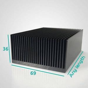 DHgate fans & coolings black aluminum cooling for high power heat sink chip cooler 69/100/140/250/300x69x36mm