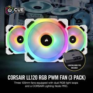 DHgate series, ll120 rgb, 120mm rgb led fan, triple pack with lighting node pro- white, pro included, rg1