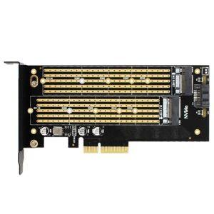 DHgate webcams jeyi sk7 server m.2 nvme ssd ngff sata to pcie3.0 x4 4x adapter m key b dual port card pci-e3.0 voltage 12v+3.3v u.2