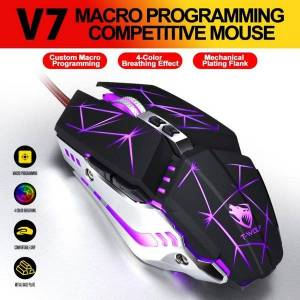 DHgate mice ergonomic wired gaming mouse 7 button led 3200 dpi usb computer gamer with backlight for pc laptop