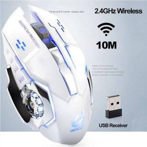 DHgate mice upgraded version of wireless charging gaming mouse mute led7 color backlight mechanical with usb receiver 1pcs