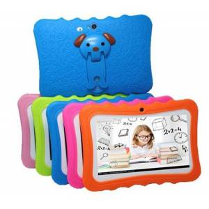 DHgate kids brand tablet pc 7inch quad core children tablets android 4.4 allwinner a33 google player wifi big speaker protective cover with package