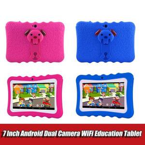 DHgate 7 inch kids tablet pc with holder quad core children lapandroid 4.4 allwinner educational app wifi ips screen protective cover