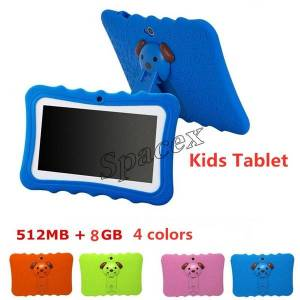 DHgate 5pcs kids brand tablet pc 7 inch quad core children tablet android 4.4 allwinner a33 google player wifi big speaker + protective cover