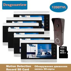 DHgate dragonsview 7 inch video door phone home intercom system 1 doorbell cameras and 3 4 5 6 monitors call transfer record motion ir