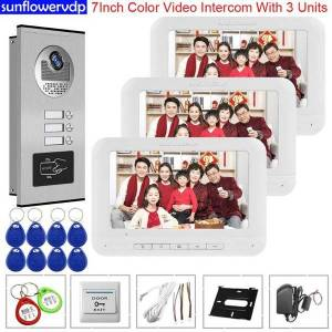DHgate home intercom doorbell video 3 monitors video door phone intercoms for a private house access control security door entry