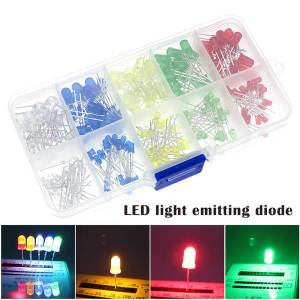 DHgate 100pcs(5 colors x 20pcs) 5mm 3mm led light emitting diode round assorted color white/red/yellow/green/blue kit box kqs8