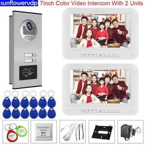 DHgate 7inch video doorbell with monitor video 2 monitors door phone handset for intercom apartments access control home security