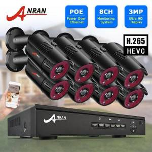 DHgate anran 3mp poe surveillance camera system 1536p ip camera kits 8ch nvr home security outdoor video cctv system
