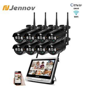 "DHgate jennov 8ch 1080p camera surveillance wireless system 12"" lcd screen nvr 3tb wifi 2mp cctv video camera weatherproof outdoor set"