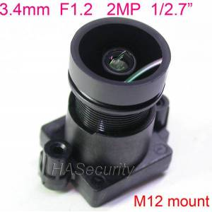 """DHgate lens f1.2 starlights 3.4mm, 2.0mp 1/2.7"""" special for image sensor imx327 , imx307 imx290 imx291 camera pcb board module"""