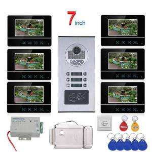 DHgate 7 inch touch button 6 apartment/family video door phone intercom system rfid 1000tvl doorbell camera +electric strike lock