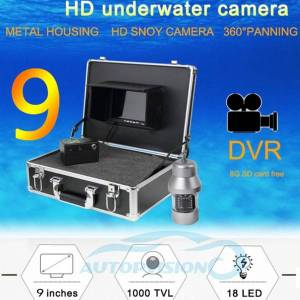 DHgate 20/50/100m cable optional cmos 9inch lcd monitor video fish finder system underwater fishing camera with 18pcs white lights f08a