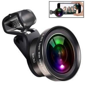 DHgate yiwa large aperture hd phone lens 0.45x wide angle&15x macro lens 2 in1 clip-on cellphone camera for for r351
