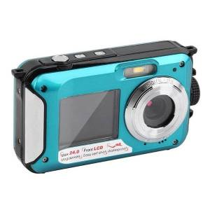 DHgate digital cameras dual screen underwater camera selfie video recorder waterproof anti-shake 1080p full hd 2.4mp tf card 32gb 16x zoom