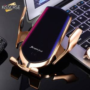 DHgate kisscase wireless charger car phone holder 2 in 1 automatic induction phone holder in car for note10 plus s10 s9 s8 s7