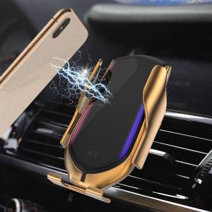 DHgate 2 colors r1 automatic clamping 10w car wireless charger infrared induction qi wireless charger car phone holder for phone