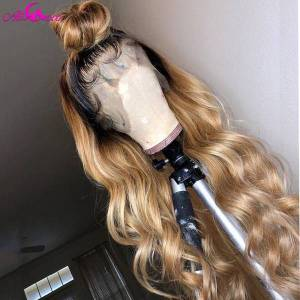 DHgate 1bt27 ombre body wave human hair lace wigs for women brazilian remy human hair wigs pre plucked bleached konts ali coco