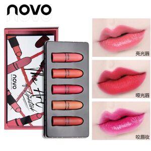 DHgate 2020 matte lipstick set 5 colors velvet lipstick moisturizer natrual nude mini batom waterproof lip stick makeup gifts