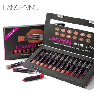 DHgate langmanni 12 piece lipstick set velvet rich and matte with a smooth clean finish crayon long lasting cosmetics beauty maquiagem lipstick