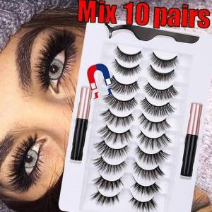 DHgate 10pairs/set magnetic eyelashs magnet liquid eyeliner& magnetic lashes & tweezer set waterproof long lasting eyelash extension