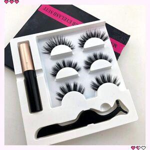 DHgate 3pair magnetic eyelashes 3d faux mink eyelashes magnet lashes magnetic liquid eyeliner&magnetic false & tweezer set
