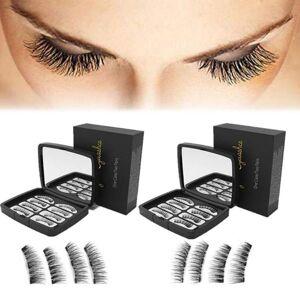 DHgate 8pcs 3d magnetic false eyelashes three magnets full eye lashes extension makeup tweezes nature long eyelashes with gift box