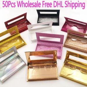 DHgate 50pcs wholesale false eyelashes packaging box fake 3d mink lashes boxes faux cils strip rectangle magnetic case empty