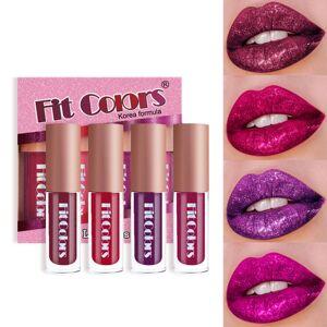 DHgate 4 colors/set matte metallic lip gloss glitter shimmer flip lip gloss set long lasting waterproof diamonds pearl liquid lipstick