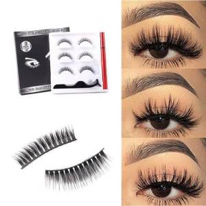 DHgate 3 pairs magnetic eyelashs set magnet liquid eyeliner& lasting long lashes waterproof extension magnetic set eyelash tweezer p1a0
