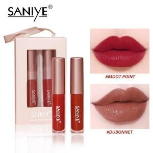 DHgate saniye 2pcs/set lip gloss matte lip gloss waterproof long lasting natural moisturizer makeup red cosmetic lipstick