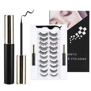 DHgate 10 pairs eye lashes magnetic eyelashes and eyeliner set false eyelashes magnet extension liquid eyeliner set waterproof