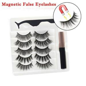 DHgate for women makeup 5 pair natural lashes magnetic + liquid eyeliner + tweezers set long-lasting extension false eyelashes beauty