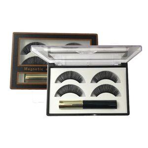 DHgate magnetic 3d false eyelashes and eyeliner set 3 magnets eye lash long lashes fluffy fake eyelash boxes packaging 2 pairs bulk