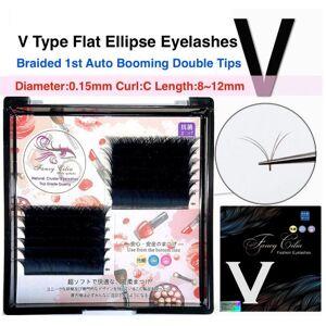 DHgate v type flat ellipse grafting eyelashes braided 1st auto blooming curl c thickness 0.15mm ellipse flat double tips v shape eyelas