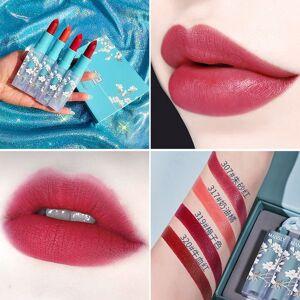DHgate mansly elegant rhyme lipstick 4pcs / set matte soft mist milk color rotten tomato red lipstick set box cosmetics wholesale