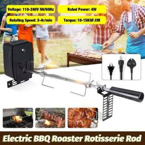 DHgate tools & accessories automatic electric bbq grill rotisserie parts motor spit roaster rod fork kit set outdoor camping barbecue 4w