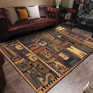 DHgate retro 3d imitation wood letter carving printed carpets rugs for living room doormat bedroom bedside pad tapete para vloerkleed