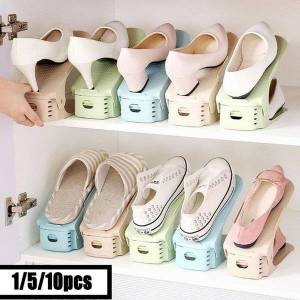 DHgate 1/5/10pcs adjustable shoe organizer double shoe rack storage space saver shoes organizers stand shelf for living room