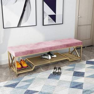 DHgate luxury iron shoes stool home sofa door long bench with storage rack ottoman pouf banco zapatero customize color