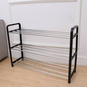 DHgate creative shoes shelf storage rack detachable steel long tube space-saving shoes organizer for home office door back (thr