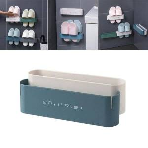 DHgate pcs wall mounted shoe rack waterproof storage traceless for home white and blue clothing & wardrobe