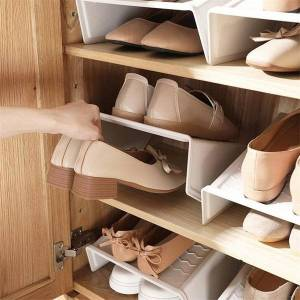 DHgate pack shoe rack set plastic shoes shelf home organizer holder for flat high heels short boots sneakers save space clothing & wardrobe storage