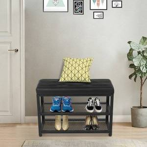 DHgate 70cm3 layer 2-layer holder rack shoes with pu steel wood shoe stool leather density board iron black cushion frame courtyard store