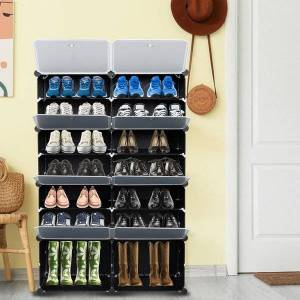 DHgate 7-tier portable 28 pair shoe rack organizer 14 grids tower shelf storage cabinet stand expandable for heels boots slippers black