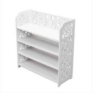 DHgate wholeslaes  wood-plastic board four tiers carved shoe rack white b storage holders & racks home storage & organization