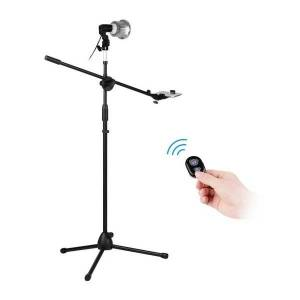 DHgate professional pgraphy light stand kit 140cm adjustable height aluminum alloy tripod stand with phone holder bt remote control