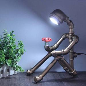 DHgate vintage water tube table lamp creative robot bar loft cafe bedroom lamp retro industrial country home art deco led table lantern