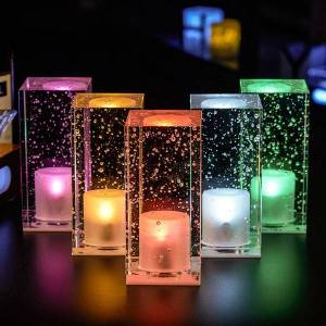 DHgate bubble crystal rgb chargeable led bar table lamp with adjustable switch modern creative crystal atmosphere night light